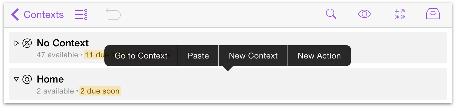 Contextual menu for contexts in OmniFocus 2 for iOS on iPad.