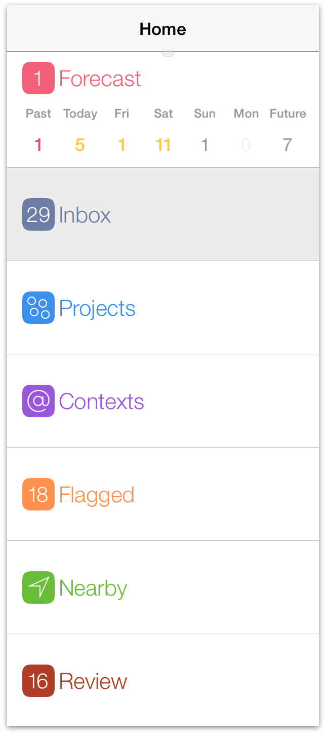 The sidebar in OmniFocus for iOS on iPad, when viewing the home screen.