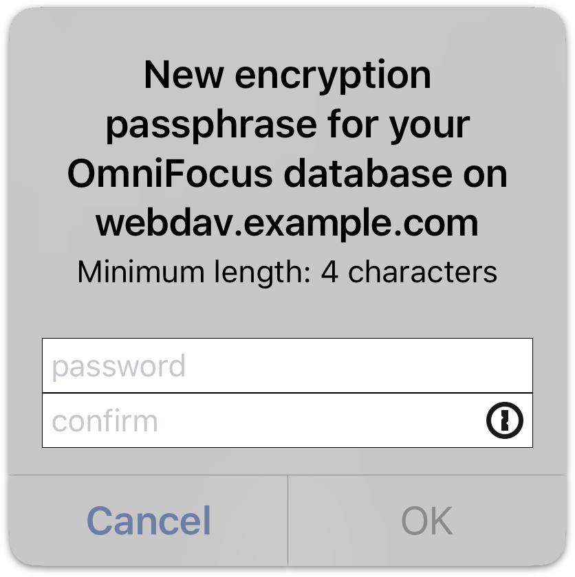 Setting a separate database passphrase; the 1Password button is visible on the password entry field.