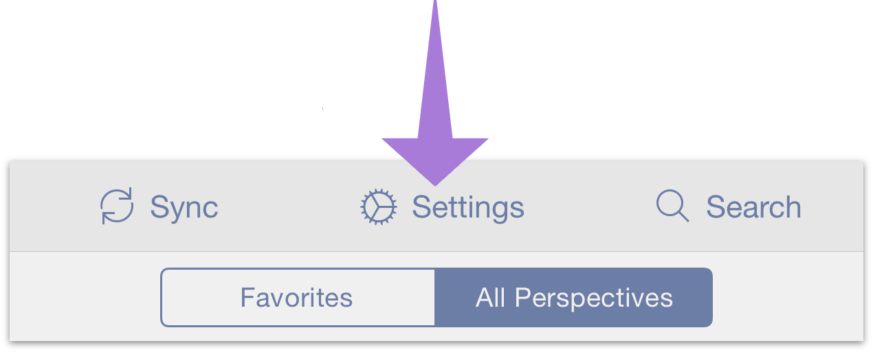 The Settings menu is reached from the secret bar in OmniFocus for iOS.
