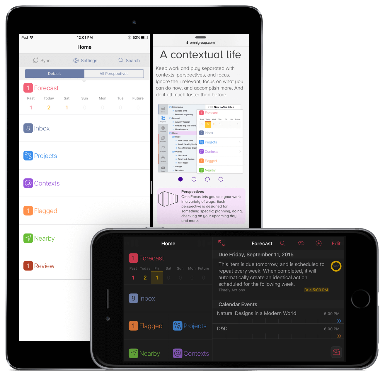 OmniFocus 2 for iOS in landscape orientation on iPhone 6 Plus, and in portrait orientation on iPad Air 2.