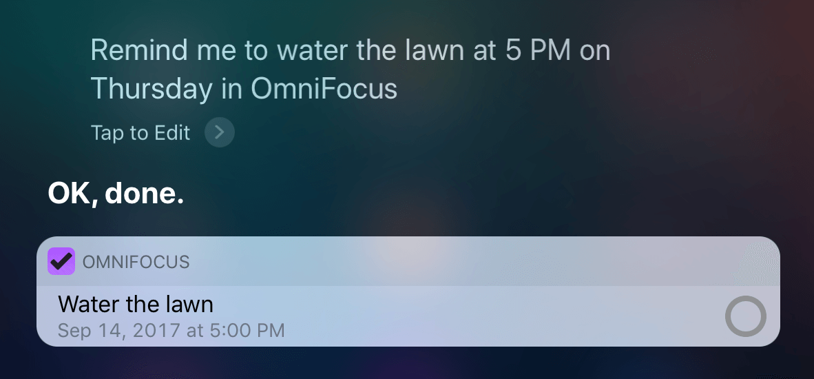 Adding an item to OmniFocus natively with Siri.
