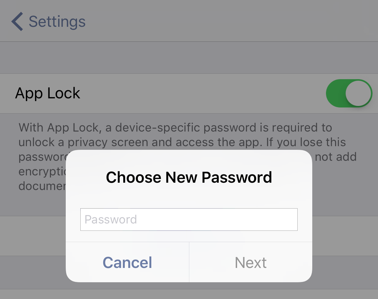 You are prompted to choose a new password when setting up App Lock for the first time.