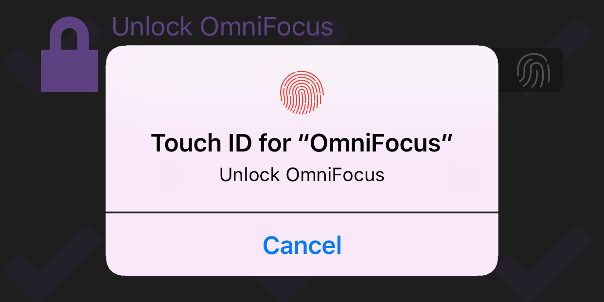 The App Lock privacy screen with Touch ID enabled, displaying a prompt for fingerprint access.