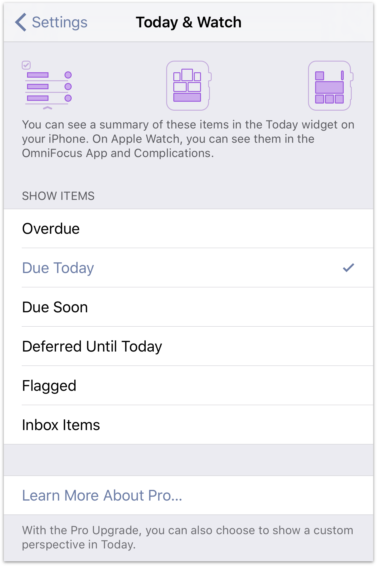 Today extension settings in OmniFocus for iOS.