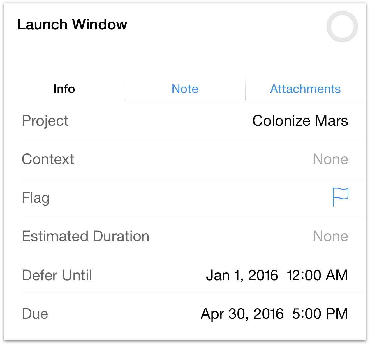 Creating a Launch Window action in the Colonize Mars project, bracketed by a defer until date and a due date.
