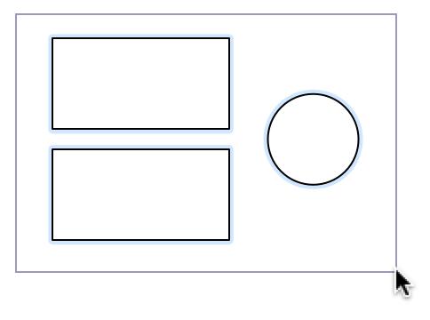 在版面上使用点按并拖移选择多个对象
