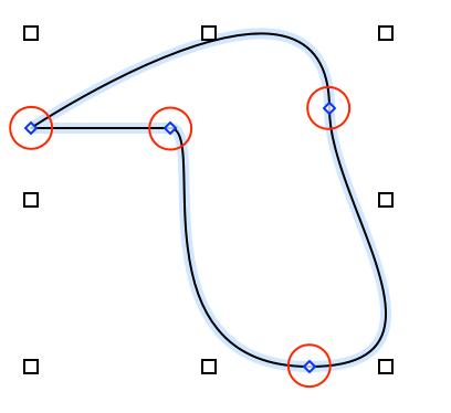 很小的蓝色菱形在通过笔工具所绘制对象的线条上显示为控制点