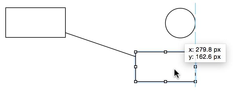 使用线条连接后,对象之间会彼此绑定。