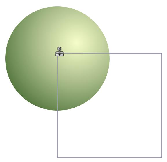 使用橡胶戳记工具选择了某个对象之后,指针将具有复制对象的形状。