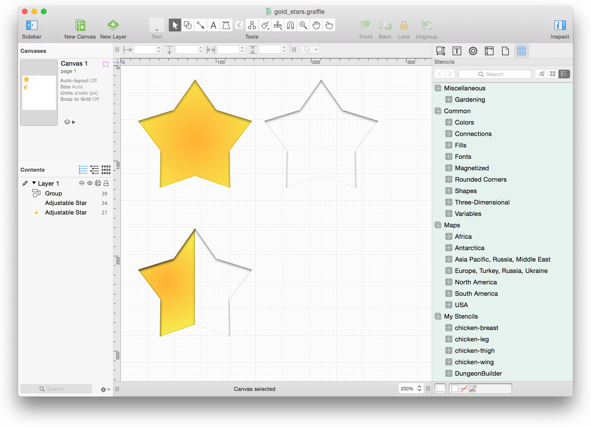an omnigraffle file with three different star images - Best Omnigraffle Stencils