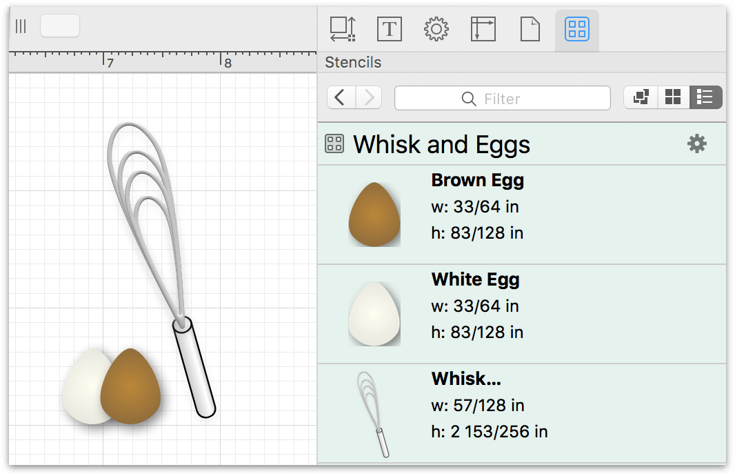 Two eggs and a whisk on the canvas