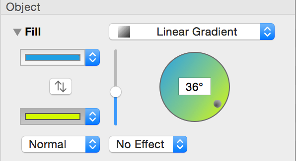 The controls used for creating linear gradients