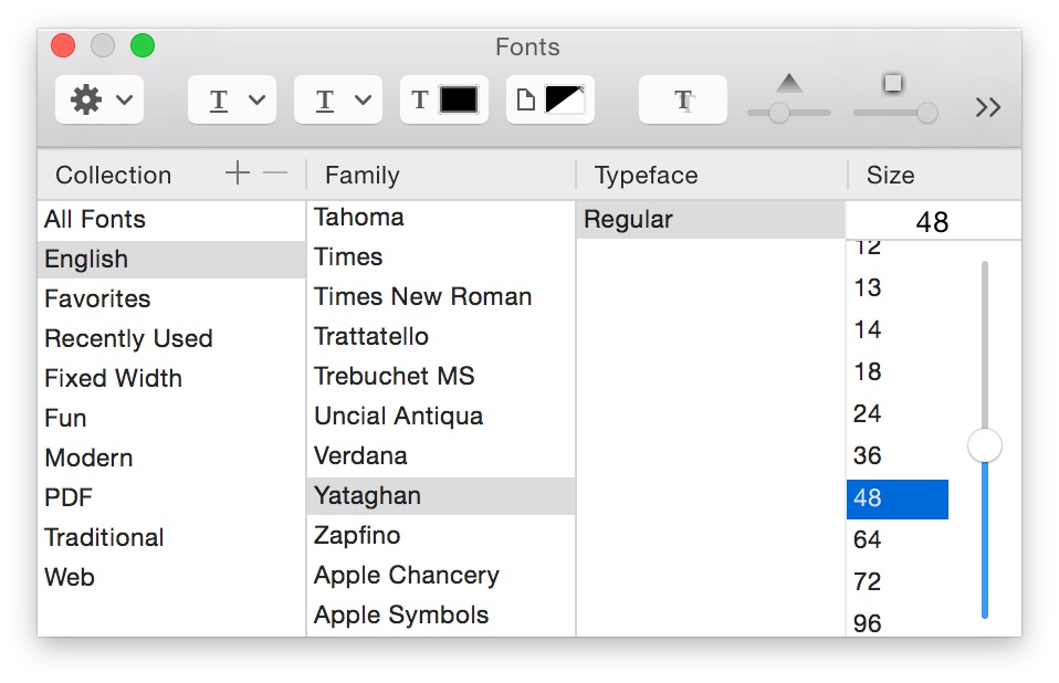 The Fonts panel