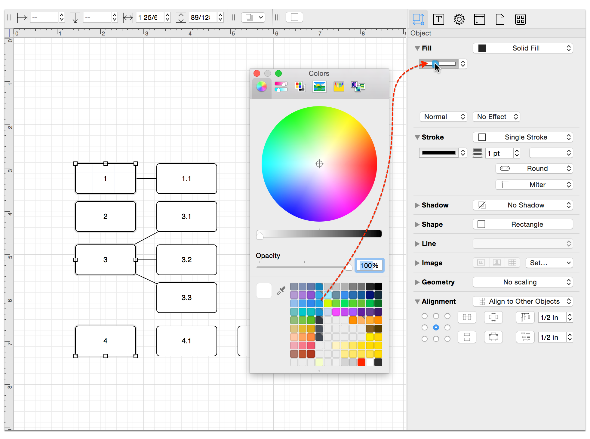 Dragging colors from the color well to a color object