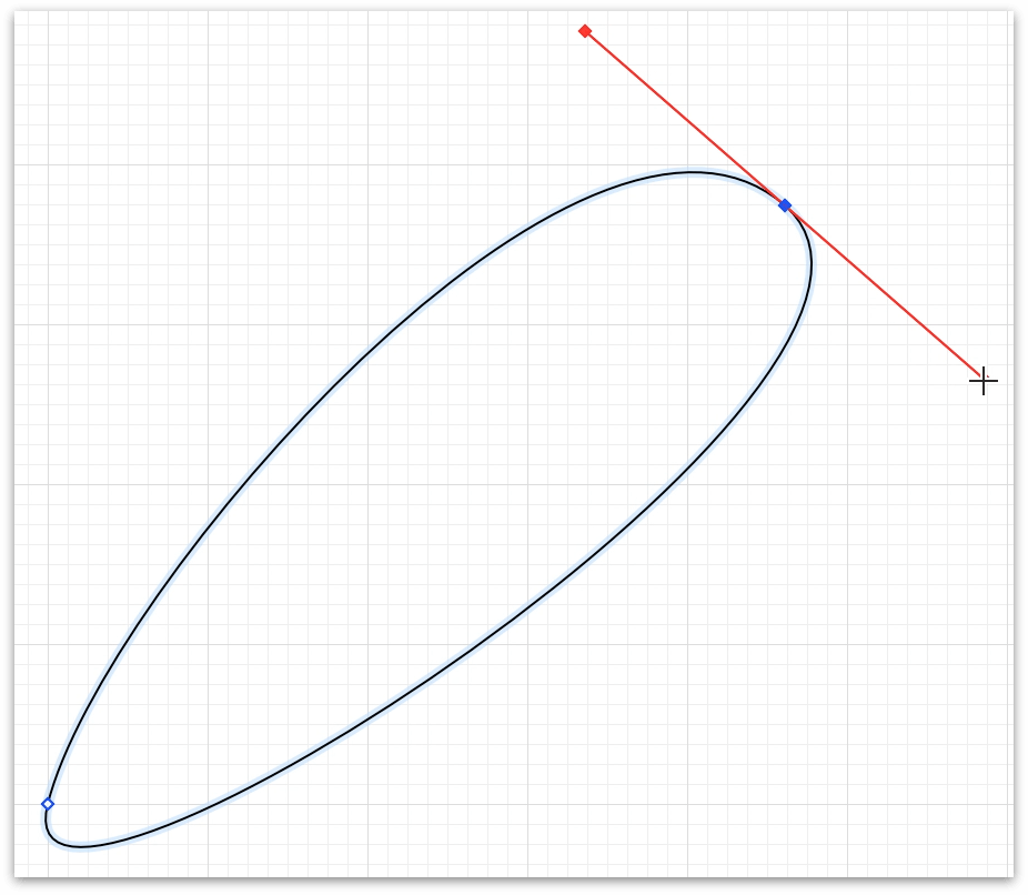 Bezier curve handles extend from the center point of the curve, known as the control point
