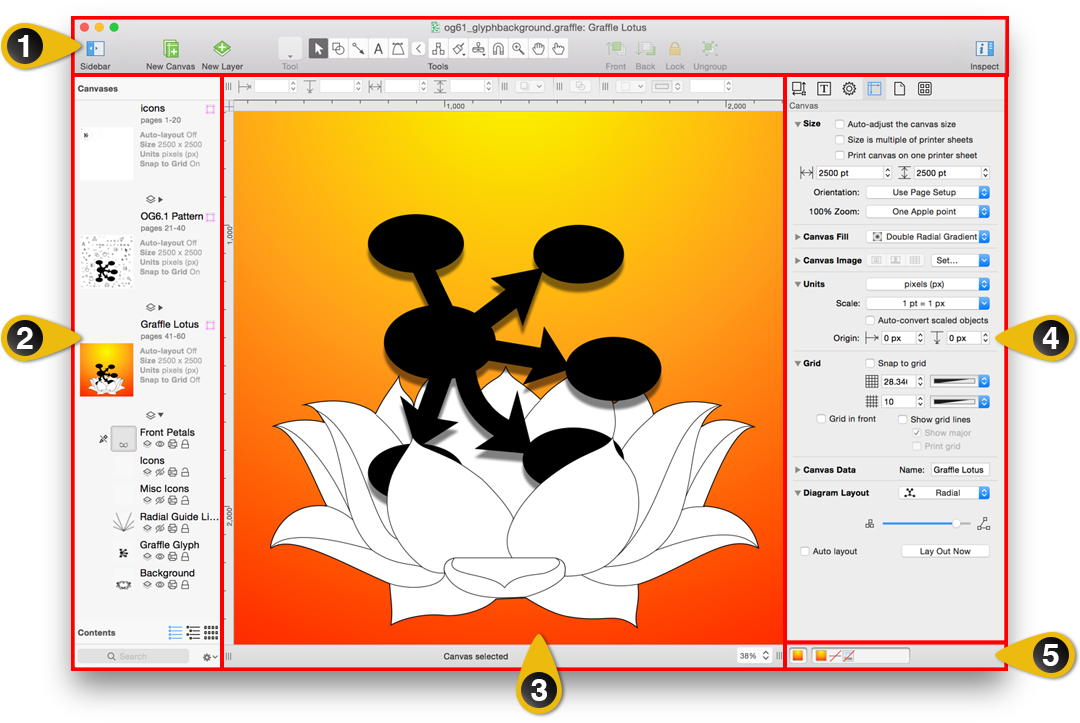 An overview of OmniGraffle's user interface