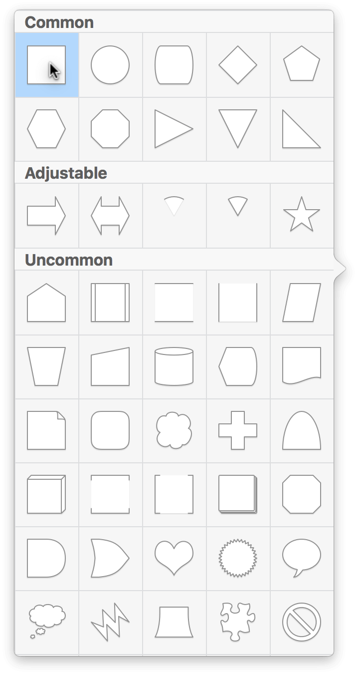 The Shape Selection popover menu has many different shapes you can choose from