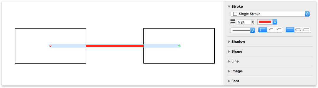 Changing the point size and color of the connecting line