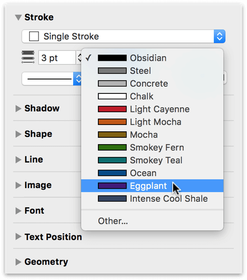 Changing the width of the stroke and its color using the Stroke inspector