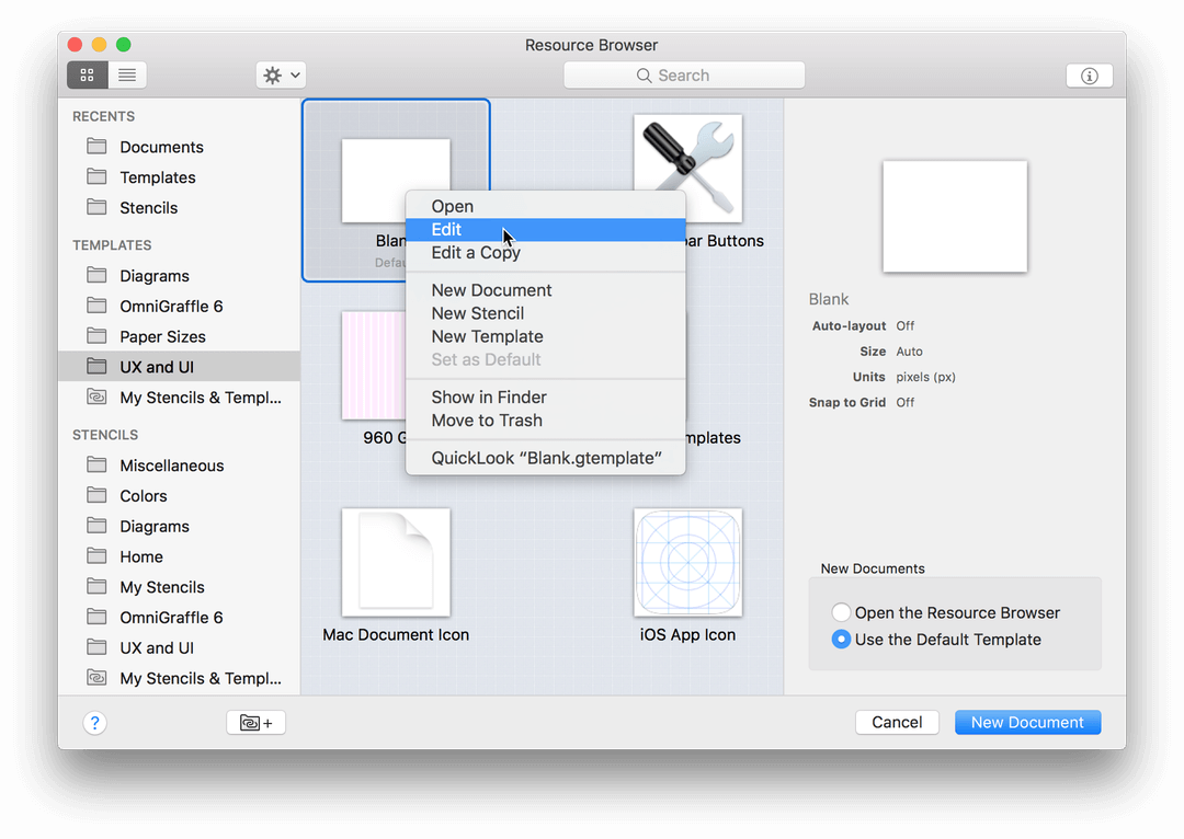 Omnigraffle 71 reference manual for macos using templates and choosing edit by right clicking on a template file in the resource browser ccuart Images