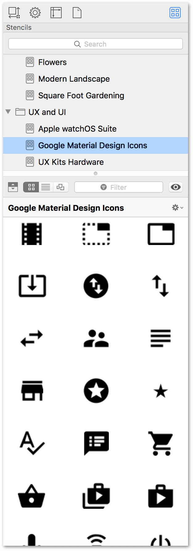 The Stencils Browser as shown in the right sidebar