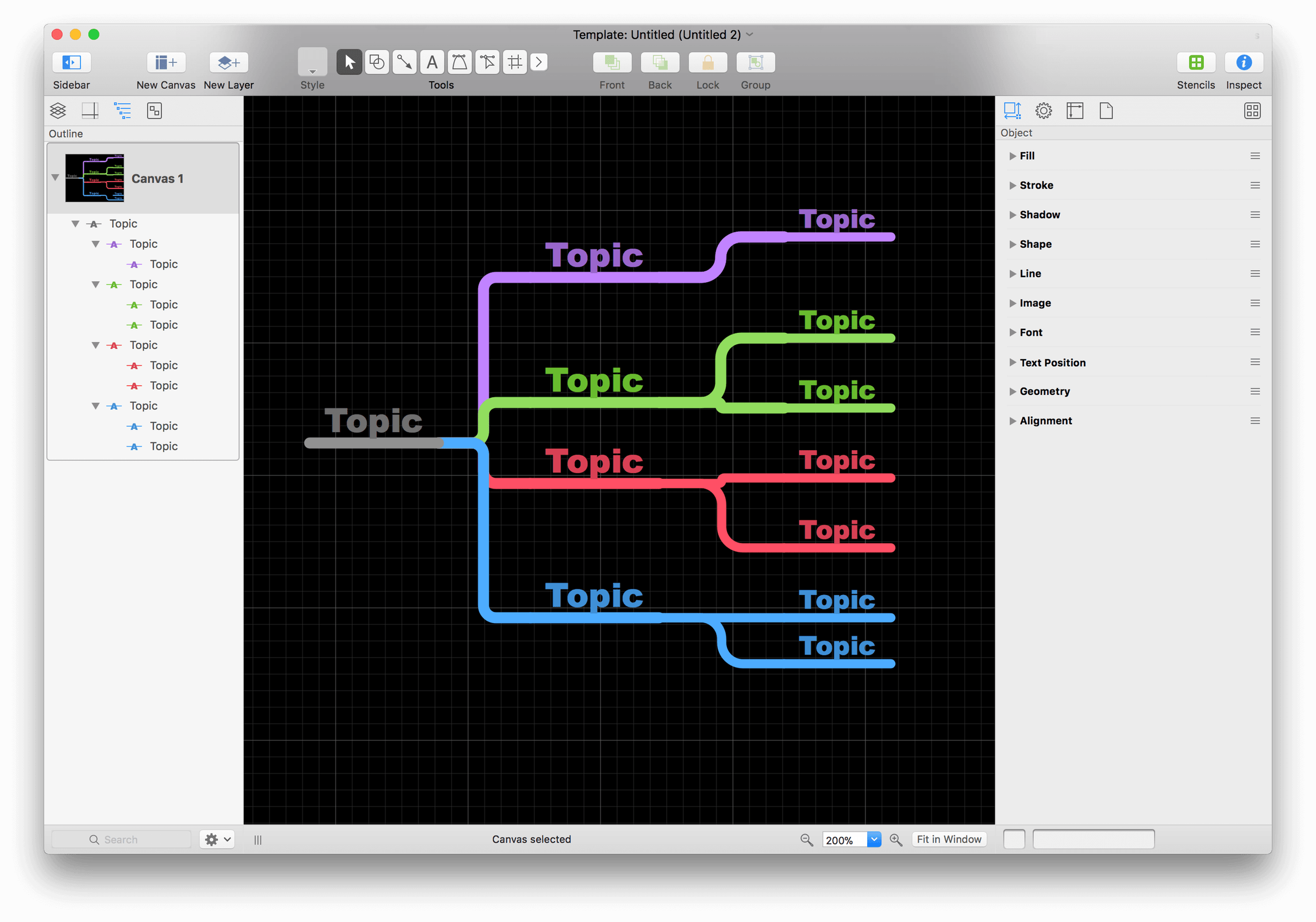 The template, whose styles you want to change, opens in OmniGraffle as an Untitled template file.