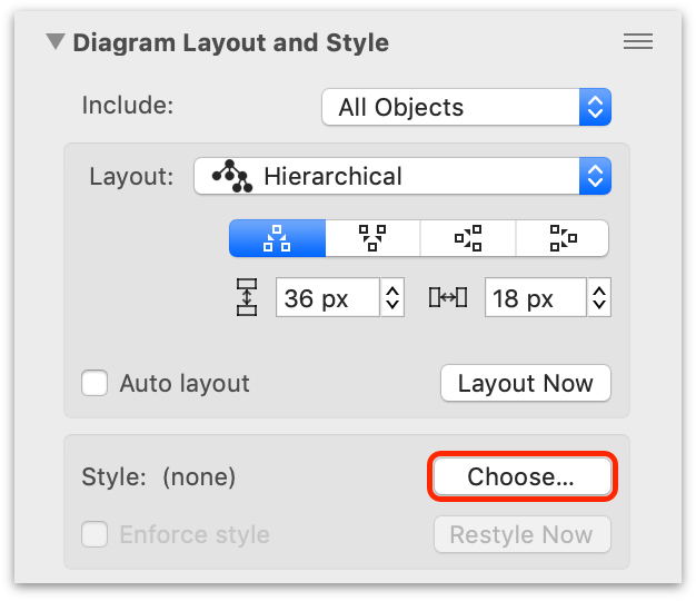 Click Choose in the Diagram Layout and Style inspector to open the sheet with available style templates.