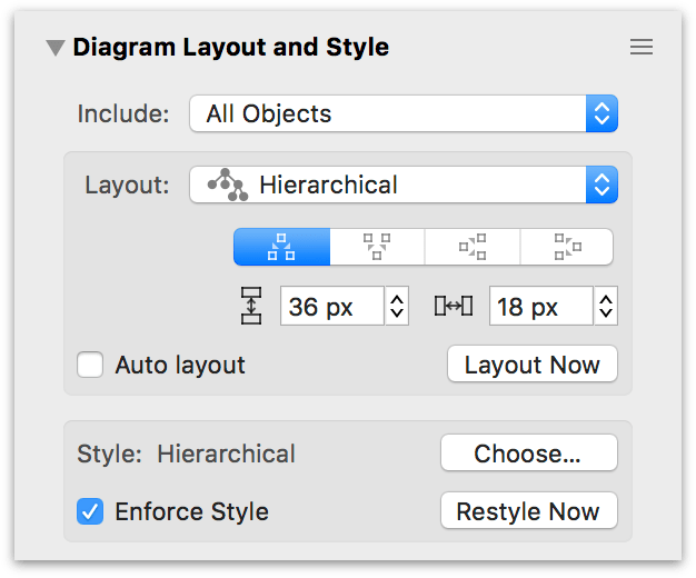 The Diagram Layout and Style inspector