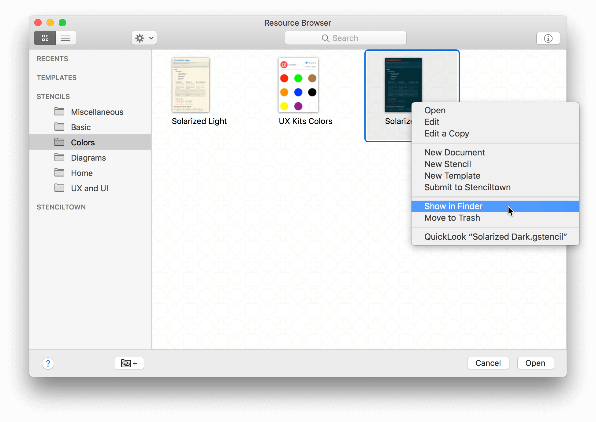 The Resource Browser is shown with a stencil selected and the Action menu open; the Show in Finder option is highlighted in the Action menu.