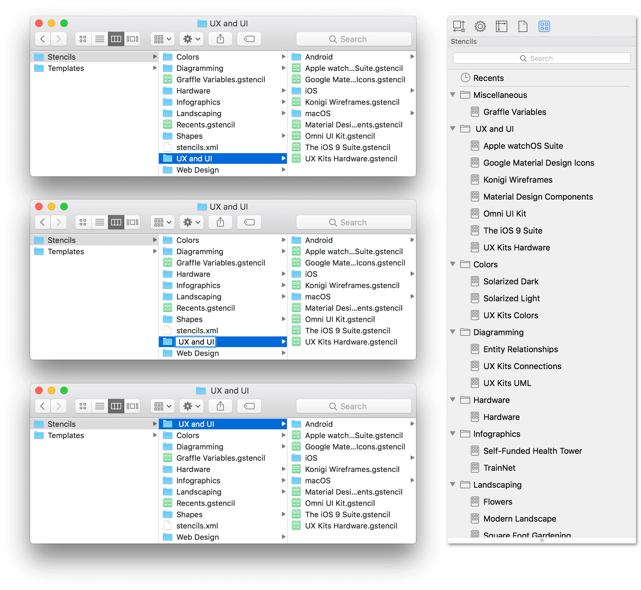Three Finder windows show the process of renaming the UX and UI folder by adding a space to the front of the folder's name. The Stencil Browser is shown at right, with the UX and UI folder of stencils at the top of the stencils list.