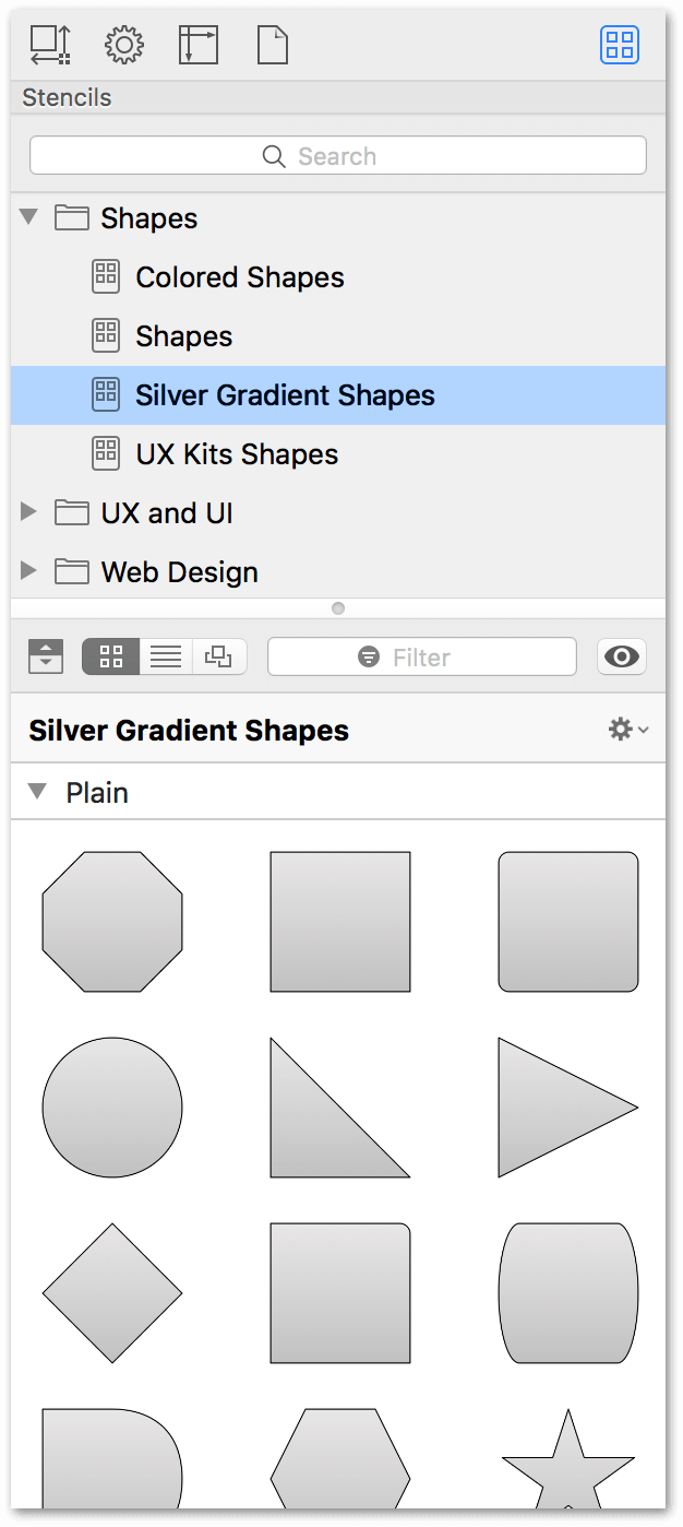 The Stencil Browser, showing the newly created stencils alongside the same shapes on the canvas