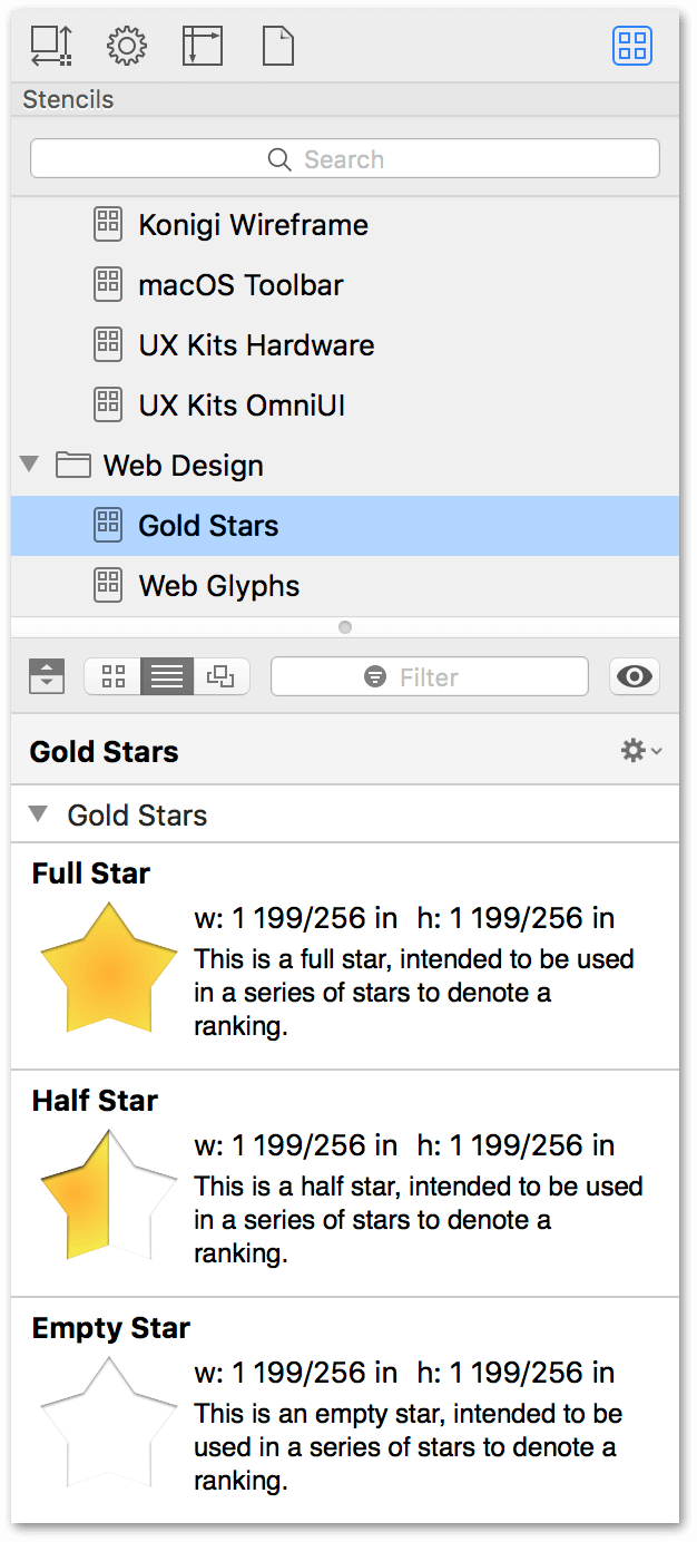 The Stencil Browser, showing different-sized stencils organized by type