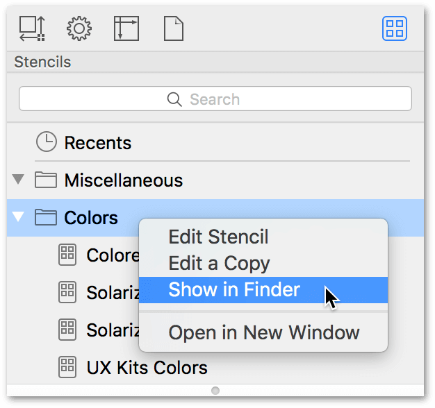 The Stencil Browser is shown with the Colors stencil folder selected. A contextual menu is shown on top with Show in Finder highlighted.