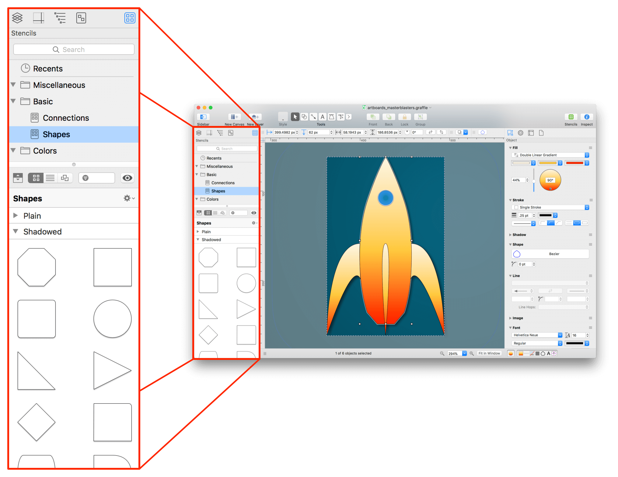 An exploding view of OmniGraffle, showing the Stencil Browser in the left sidebar, shown in a much larger scale than in the full window in the background.