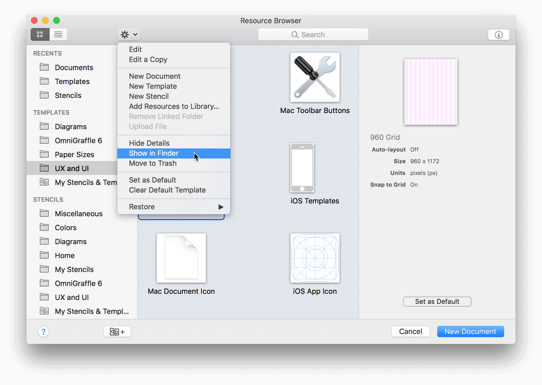 Choose Show in Finder from the gear menu of any template