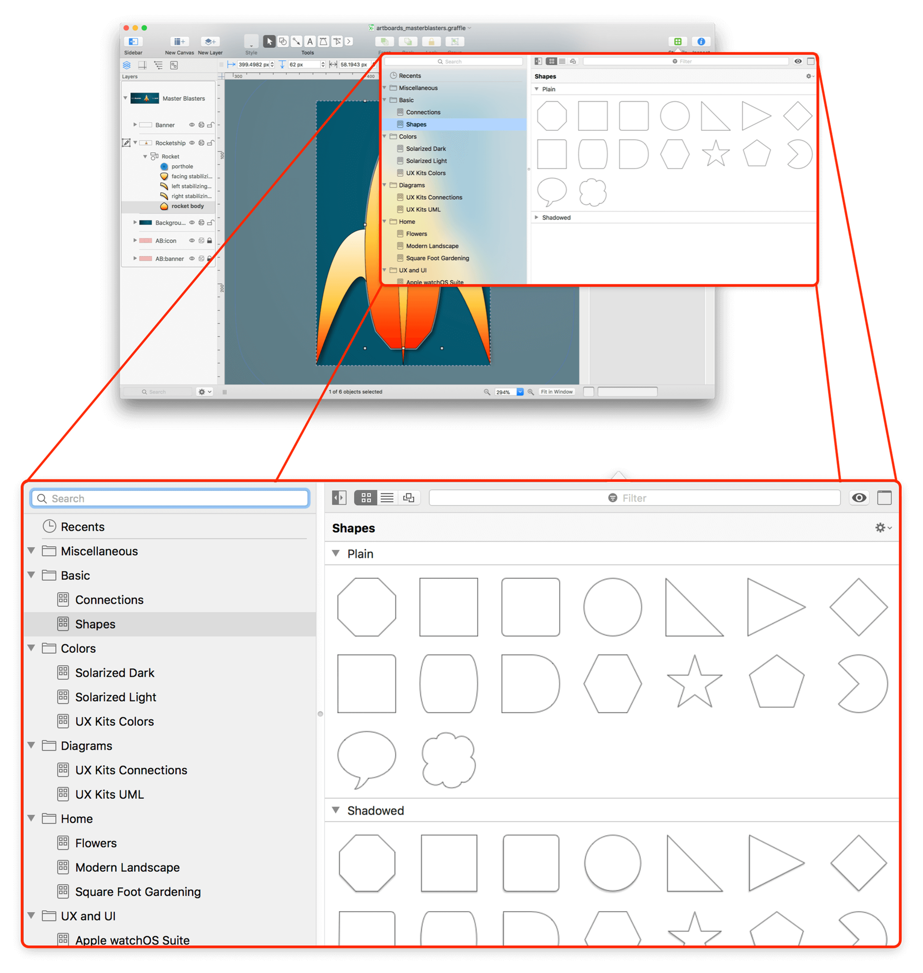 Omnigraffle 76 Reference Manual For Macos The Omni Group Filemessenger Exploded Launch Vehicle Diagrampng Wikipedia An Exploding View Of Showing Stencil Browser In A Popup Window Available From