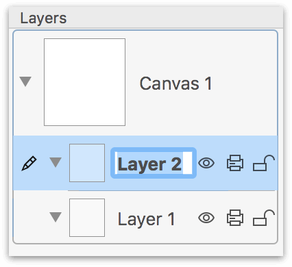 Adding a New Layer to the project places Layer 2 above Layer 1 in the Layers sidebar.