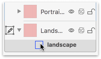 The landscape artboard, as selected in the Sidebar