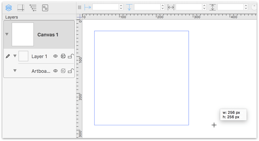 Draw the first artboard, a 256 pixel square