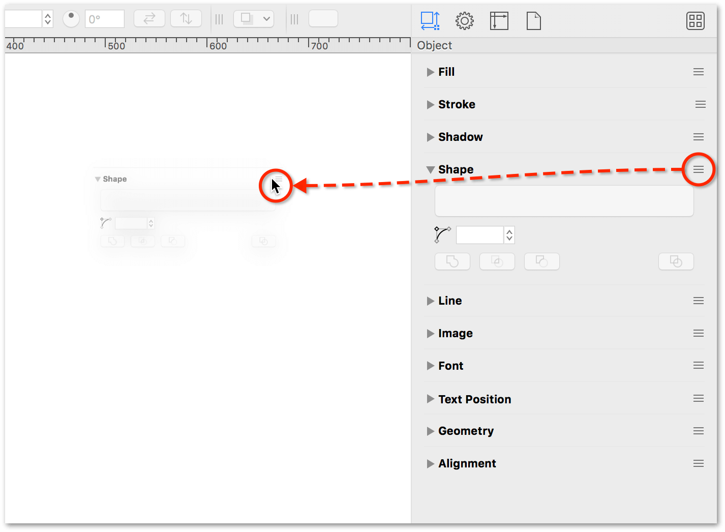Dragging the Shape inspector from the sidebar toward the canvas.