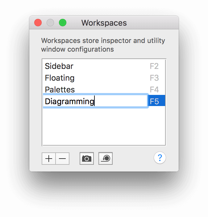 Renaming the Untitled workspace to Diagramming