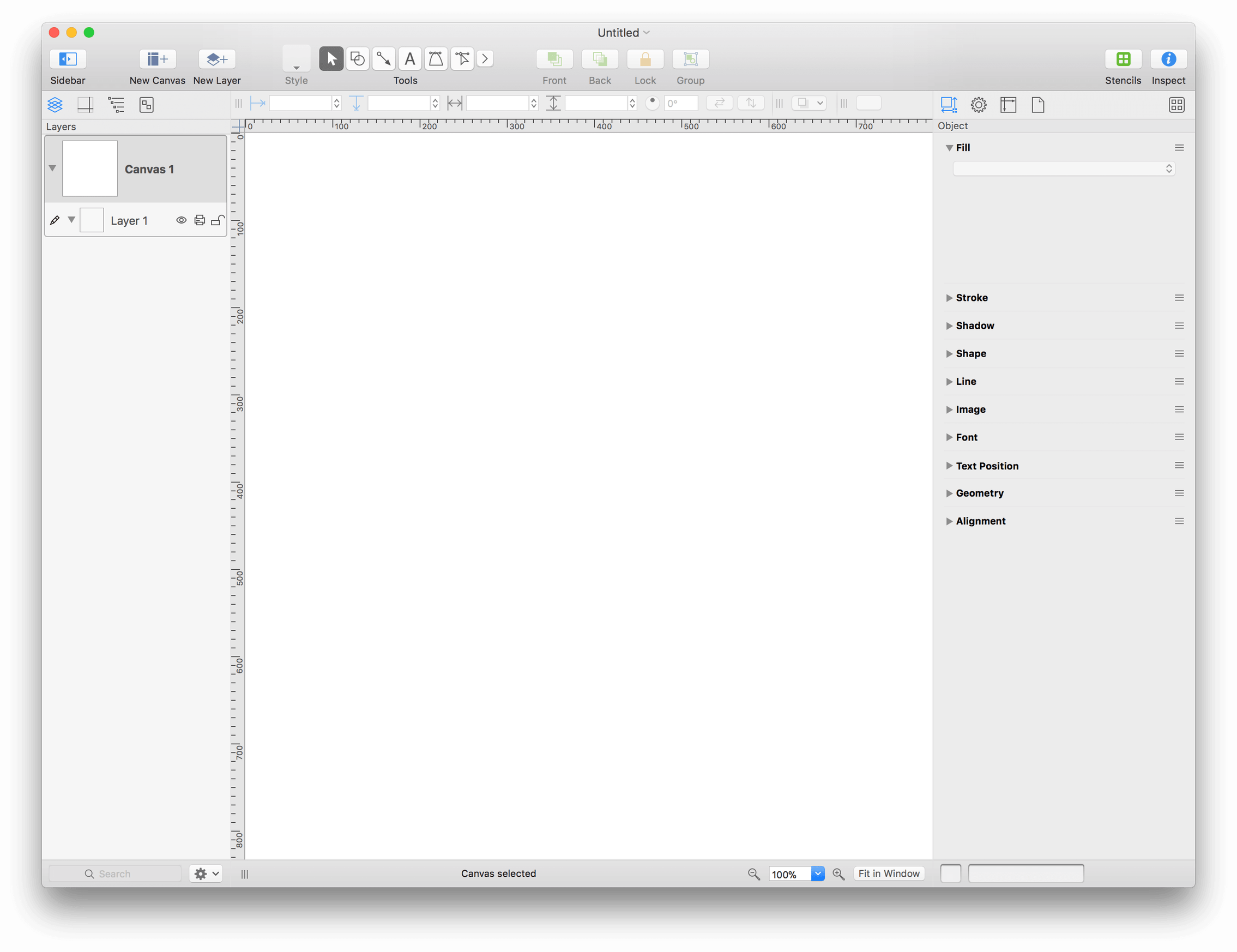 OmniGraffle, after opening the Blank template in a new document window