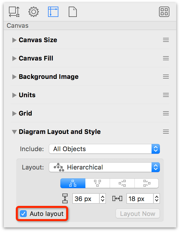The Diagram Layout and Style inspector, with Auto Layout turned on