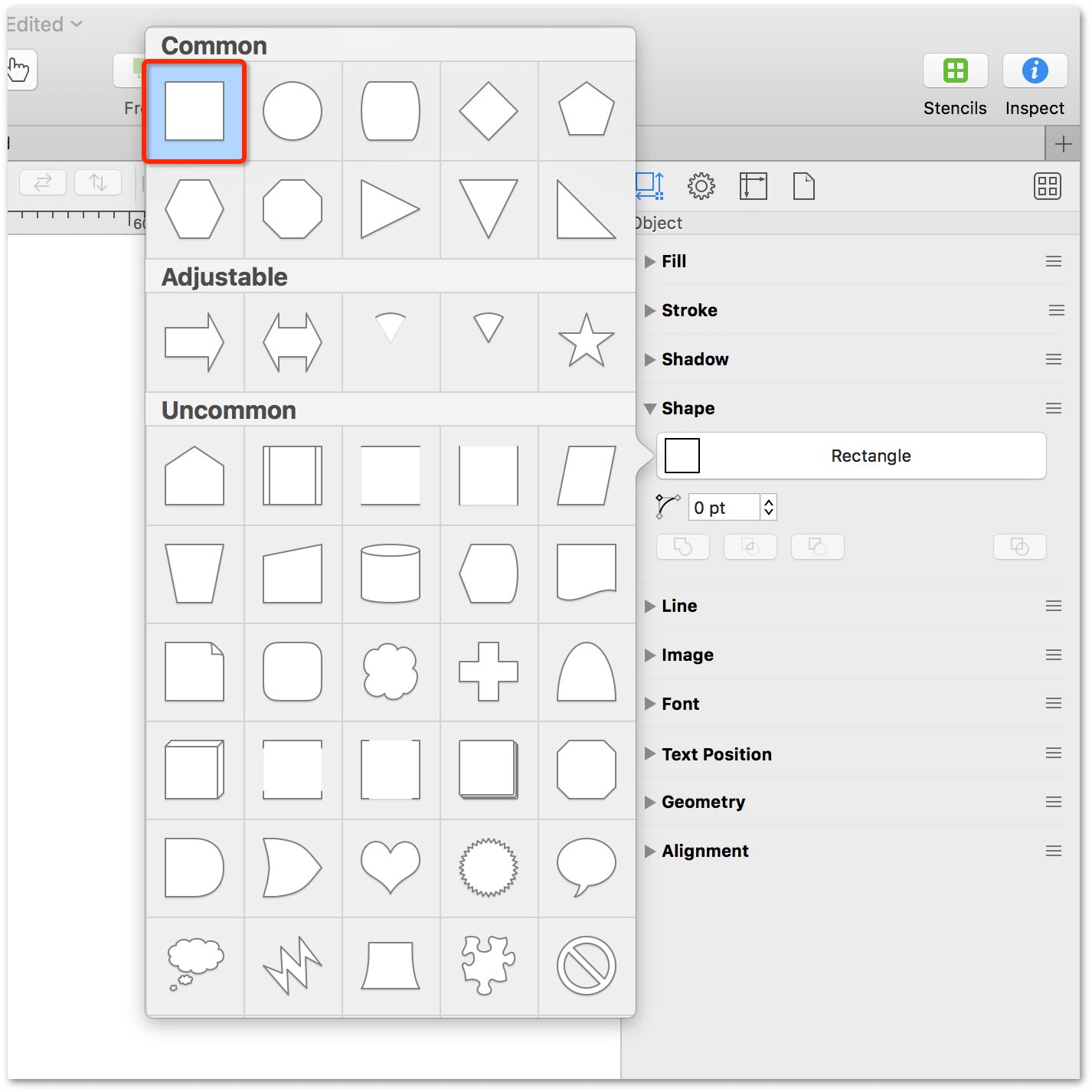 Using the Shape inspector to choose a basic shape to use for the diagram; in this case, the rectangle shape
