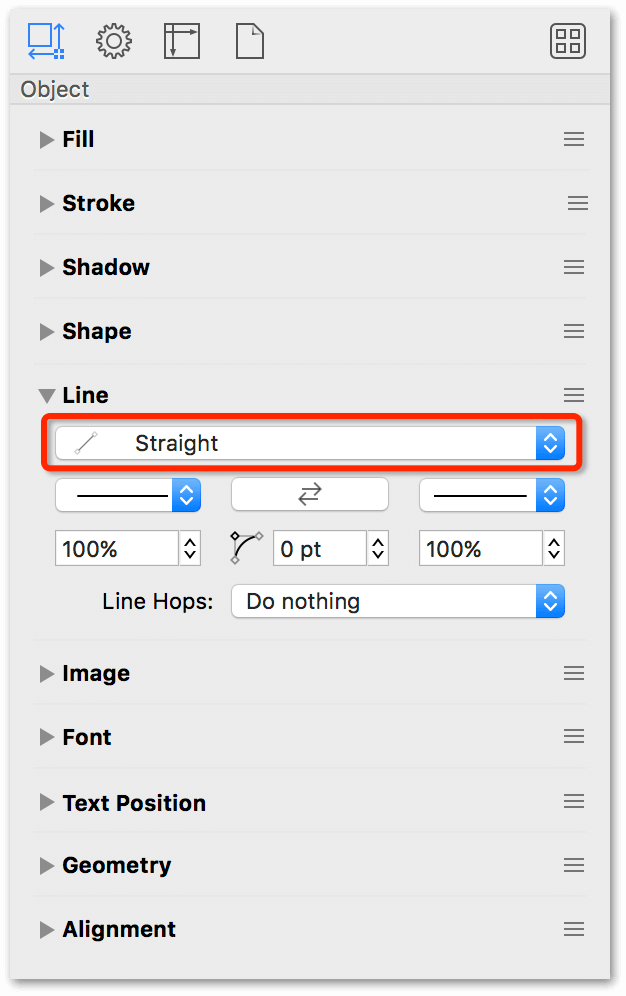 Change the Line Type from curved to straight