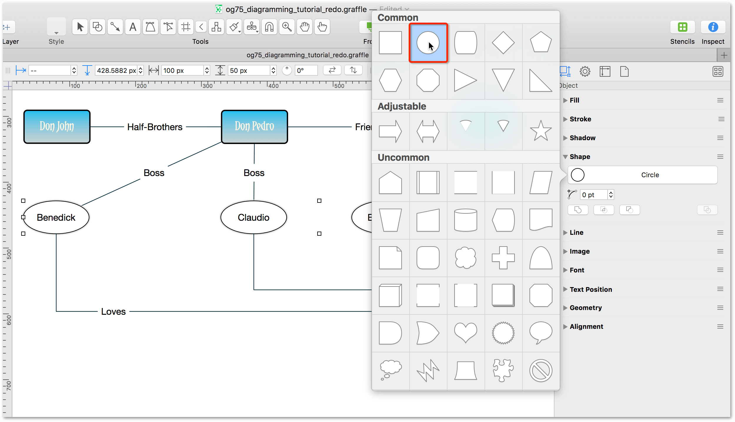 Use the Shape inspector change the Rectangles to Circles