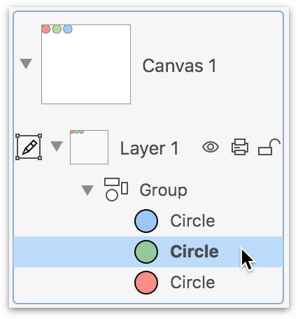 Selecting an object within a group from the Sidebar