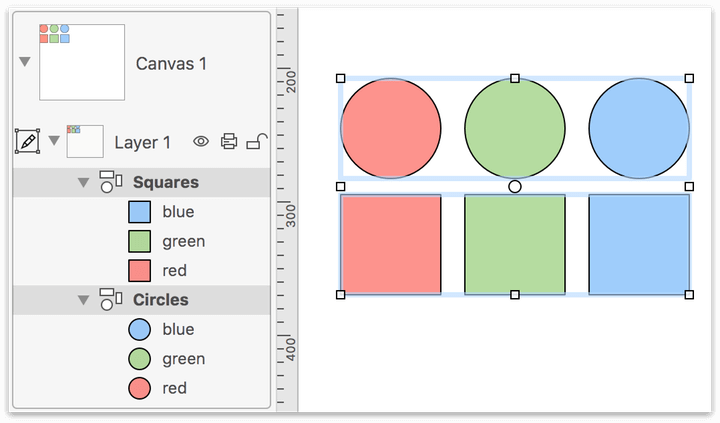 Two groups of objects are selected on the canvas so they can be grouped together