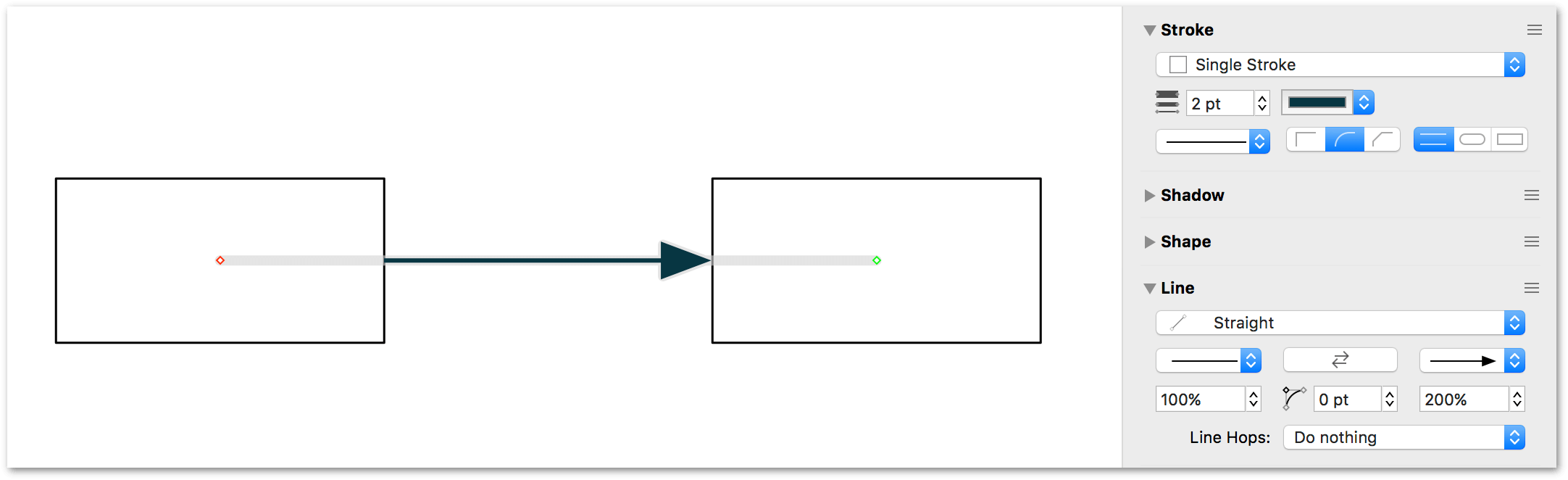 Use the percentage fields in the Line inspector to increase or decrease the size of the tail or head arrow